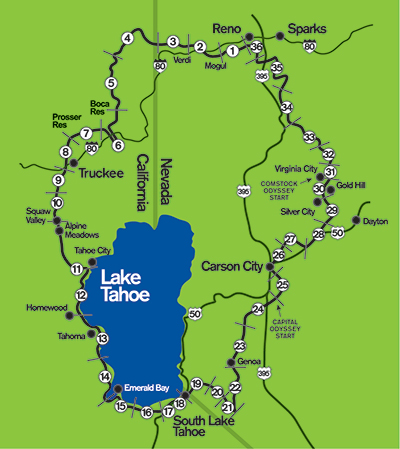 Overview Reno Tahoe Odyssey - Map of reno and lake tahoe